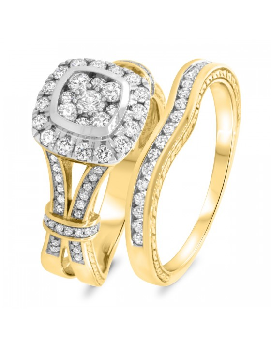 1 CT. T.W. Diamond Matching Bridal Ring Set 10K Yellow Gold