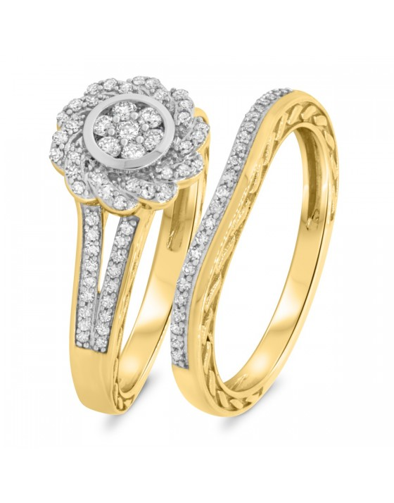 1/2 Carat T.W. Diamond Matching Bridal Ring Set 14K Yellow Gold