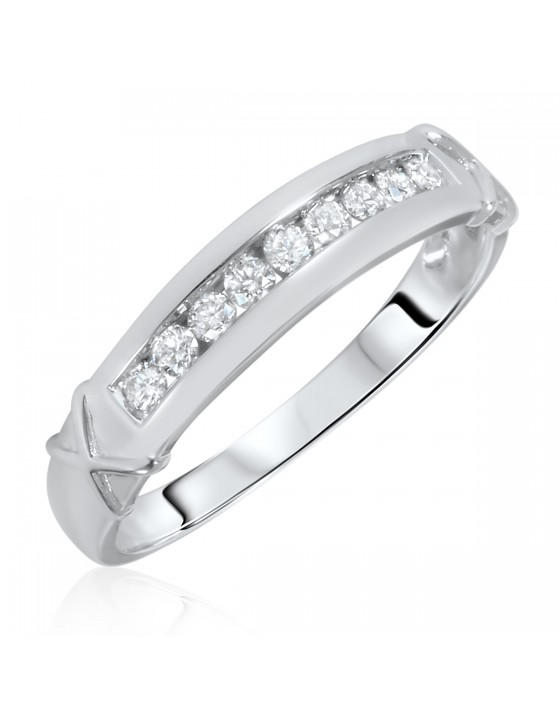 1/3 Carat T.W. Diamond Men's Wedding Ring 14K White Gold