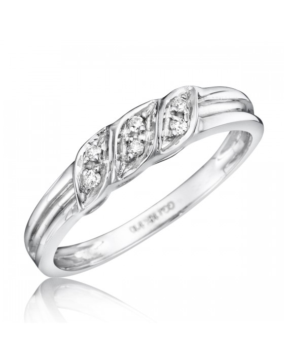 1/15 Carat T.W. Diamond Women's Wedding Ring 10K White Gold