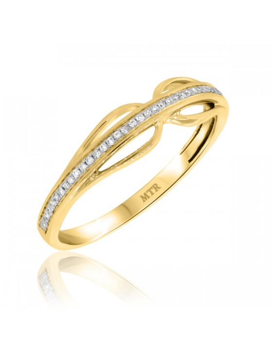 1/10 CT. T.W. Diamond Ladies Wedding Band 10K Yellow Gold