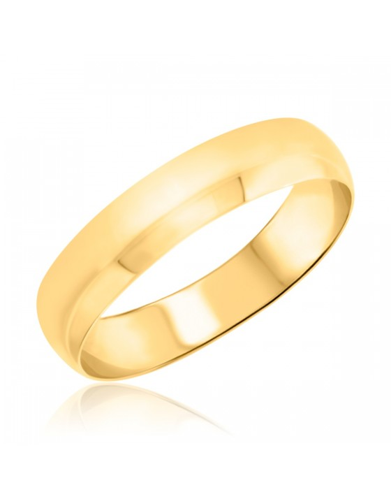 Mens Wedding Band 14K Yellow Gold