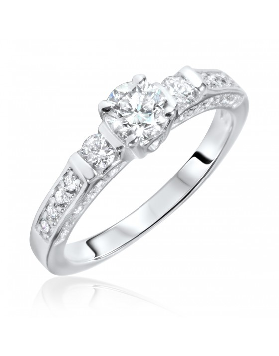 7/8 Carat T.W. Round Cut Diamond Ladies Engagement Ring 10K White Gold