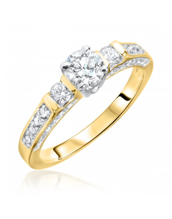 7/8 Carat T.W. Round Cut Diamond Ladies Engagement Ring 14K Yellow Gold