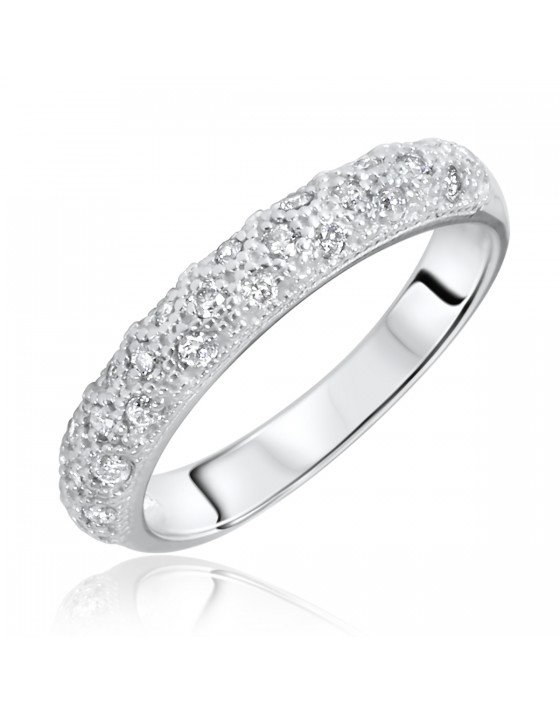 1/4 Carat T.W. Round Cut Diamond Ladies Wedding Band 10K White Gold