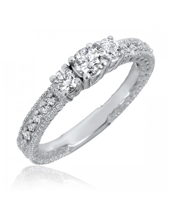 1/2 Carat T.W. Round Cut Diamond Ladies Engagement Ring 10K White Gold