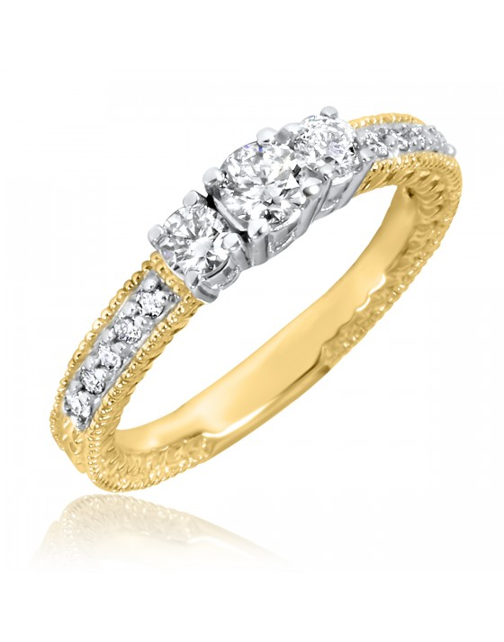 1/2 Carat T.W. Round Cut Diamond Ladies Engagement Ring 14K Yellow Gold