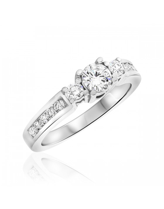 3/4 Carat T.W. Round Cut Diamond Ladies Engagement Ring 14K White Gold