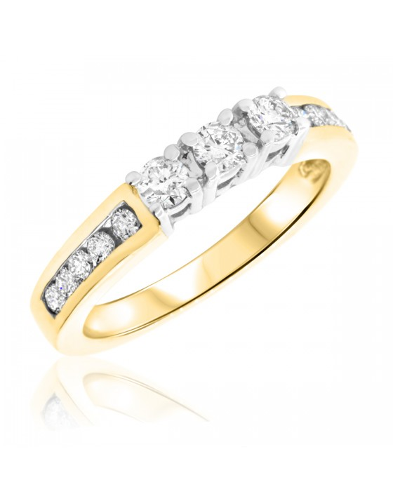 1/2 Carat T.W. Round Cut Diamond Ladies Wedding Band 14K Yellow Gold