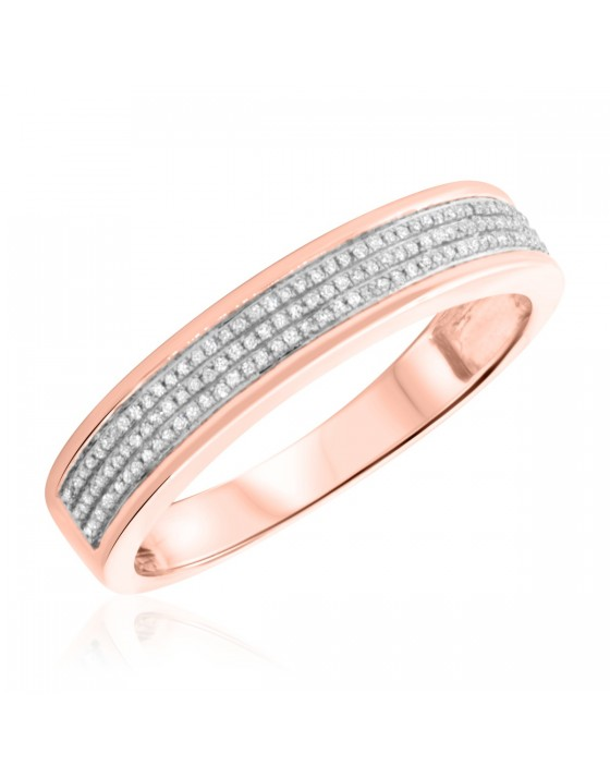 1/5 Carat T.W. Diamond Mens Wedding Band 14K Rose Gold