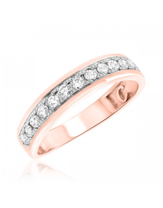1/2 Carat T.W. Diamond Ladies Wedding Band  14K Rose Gold