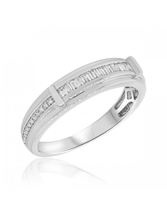 1/3 Carat T.W. Diamond Mens Wedding Band 14K White Gold