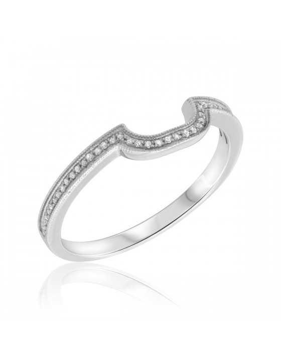 1/8 Carat T.W. Diamond Ladies Wedding Band  10K White Gold