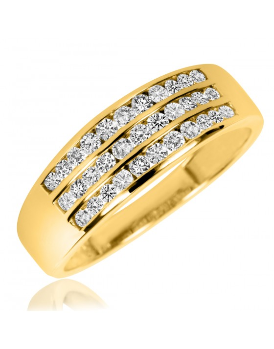 2/3 Carat T.W. Diamond Men's Wedding Band 10K Yellow Gold