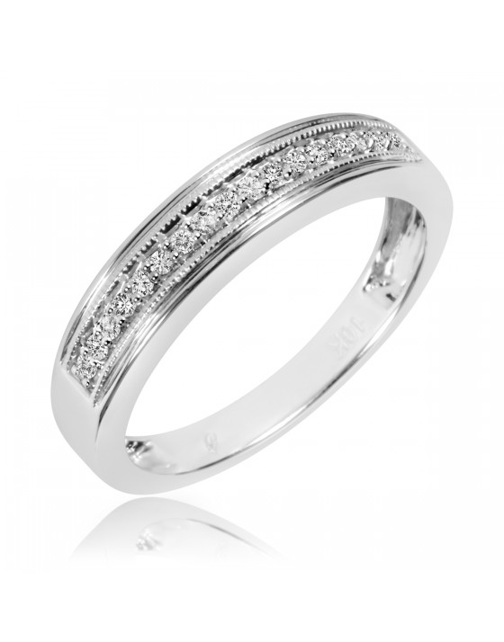 1/6 Carat T.W. Diamond Men's Wedding Band 10K White Gold