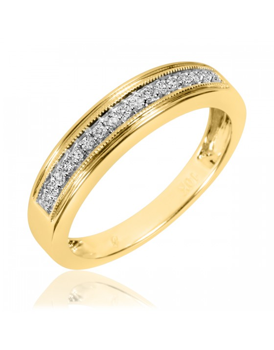 1/6 Carat T.W. Diamond Men's Wedding Band 10K Yellow Gold