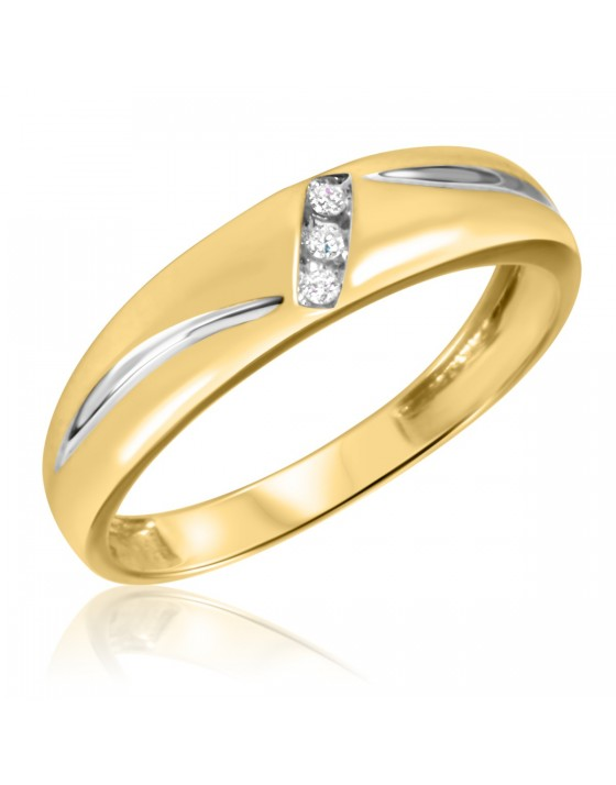 1/20 CT. T.W. Diamond Men's Wedding Band 14K Yellow Gold