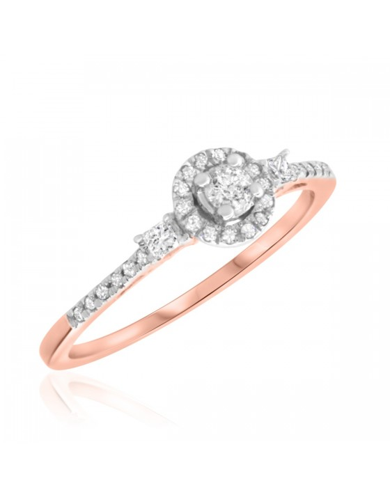 tw round cut diamond ladies bridal wedding ring set 10k rose - Rose Gold Wedding Ring Set