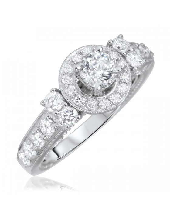 1 1/3 Carat T.W. Round Cut Diamond Ladies Engagement Ring 14K White Gold