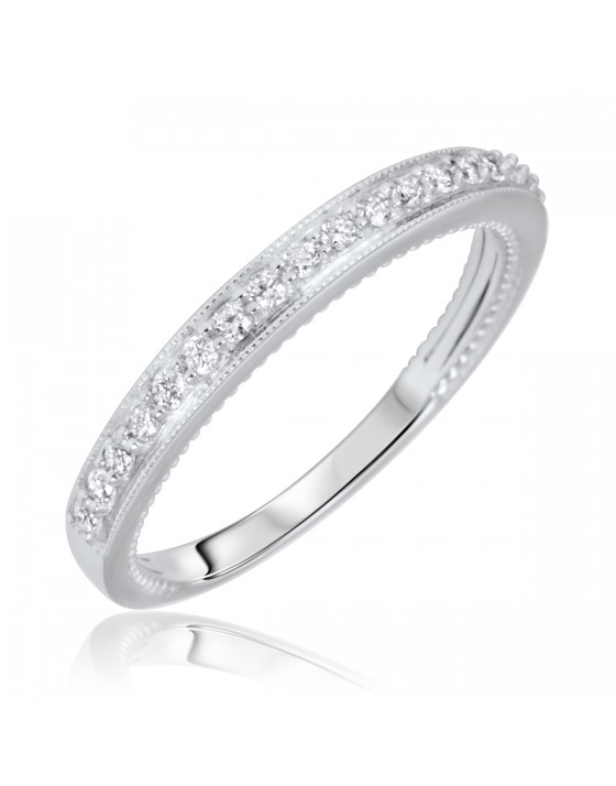 1/5 Carat T.W. Round Cut Diamond Ladies Wedding Band 14K White Gold