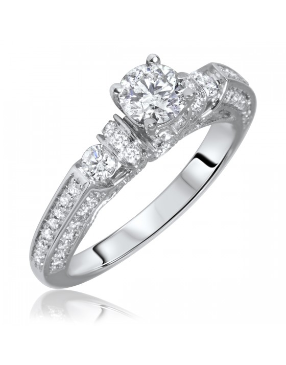 1 1/10 Carat T.W. Round Cut Diamond Ladies Engagement Ring 14K White Gold