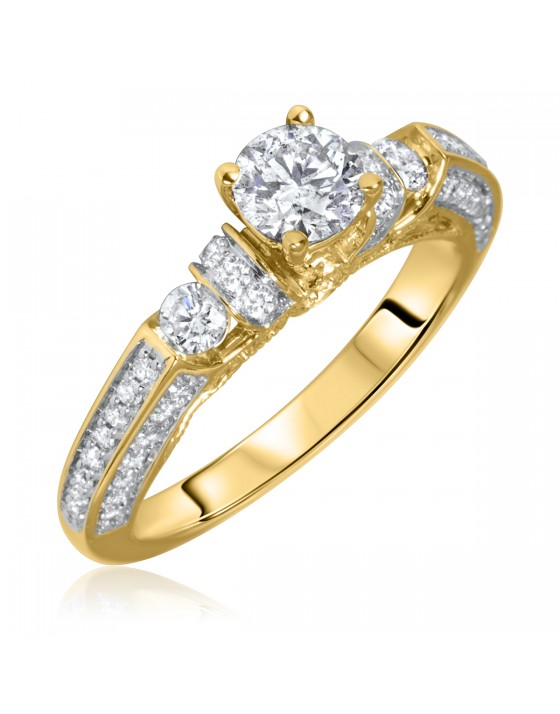 1 1/10 Carat T.W. Round Cut Diamond Ladies Engagement Ring 14K Yellow Gold