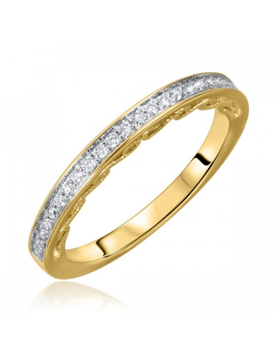 1/6 Carat T.W. Round Cut Diamond Ladies Wedding Band 14K Yellow Gold