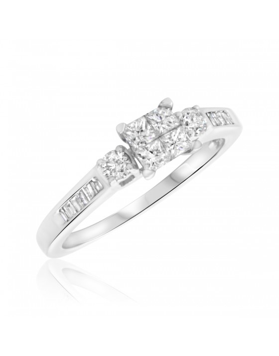 5/8 Carat T.W. Princess, Round Cut Diamond Ladies Engagement Ring 10K White Gold