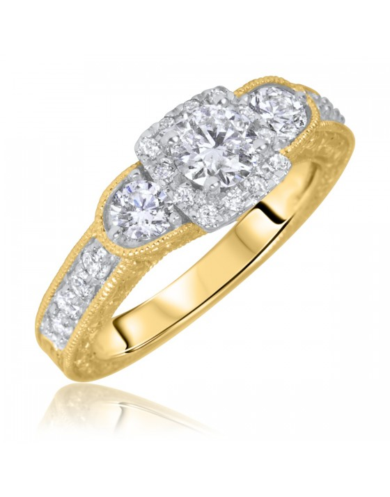 1 1/3 Carat T.W. Round Cut Diamond Ladies Engagement Ring 10K Yellow Gold
