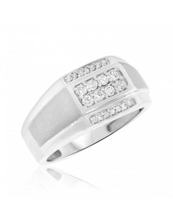 3/8 Carat T.W. Diamond Mens Wedding Band  10K White Gold
