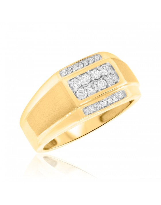 3/8 CT. T.W. Diamond Mens Wedding Band  14K Yellow Gold