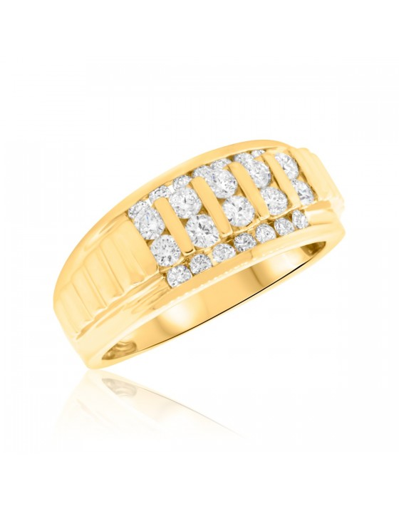 1 Carat T.W. Diamond Mens Wedding Band  14K Yellow Gold