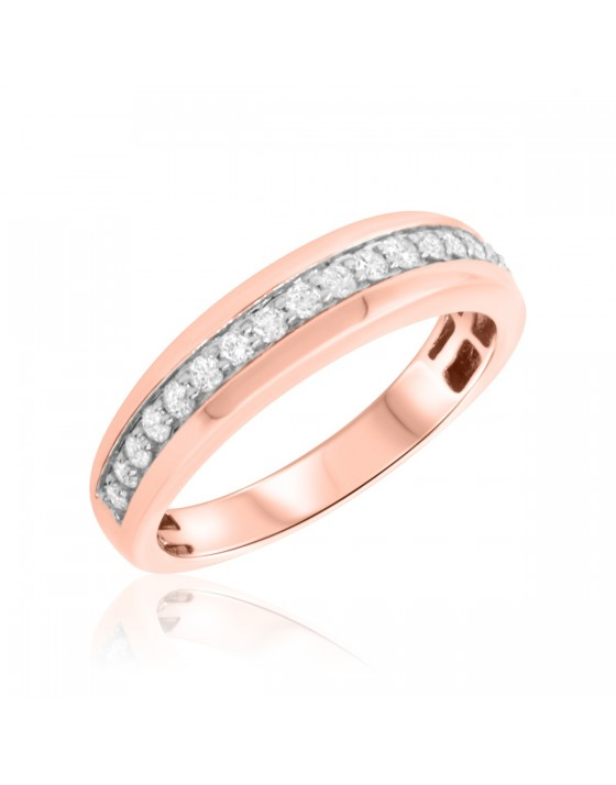 1/2 Carat T.W. Diamond Mens Wedding Band  14K Rose Gold