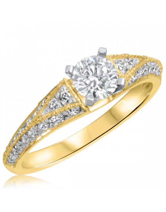 1 CT. T.W. Diamond Ladies Engagement Ring 14K Yellow Gold
