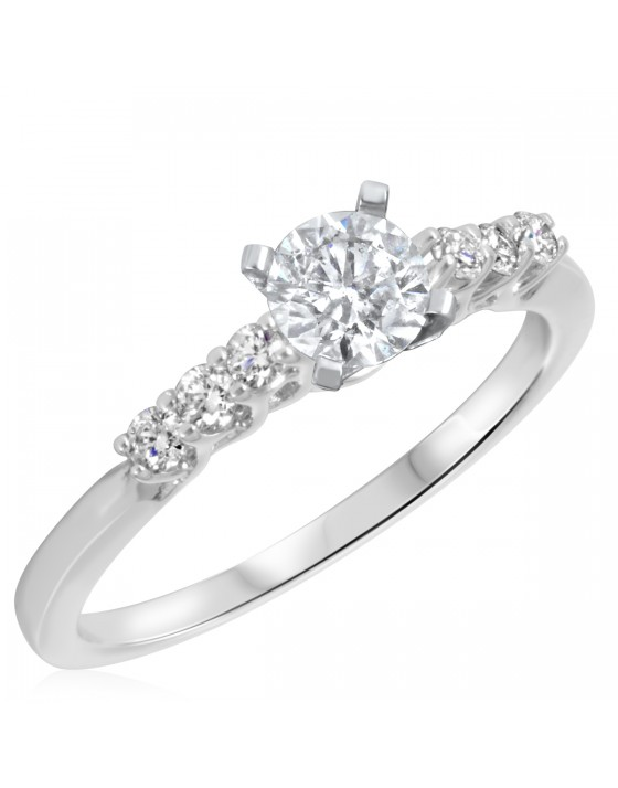 2/3 CT. T.W. Diamond Ladies Engagement Ring 10K White Gold