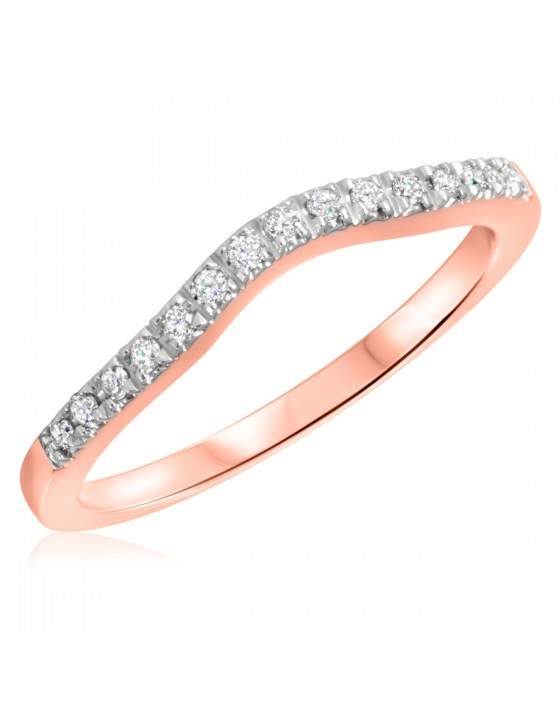 1/8 Carat T.W. Round Cut Diamond His And Hers Wedding Band Set 10K Rose Gold