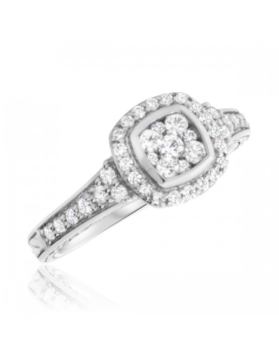 2/3 CT. T.W. Diamond Engagement Ring 10K White Gold