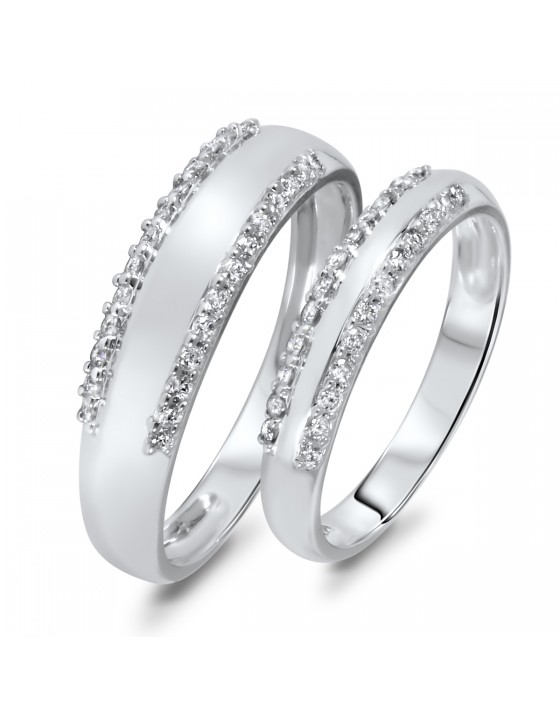 1/2 Carat T.W. Diamond Matching Wedding Rings Set 14K White Gold