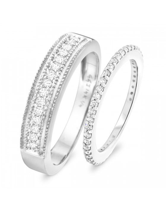 2/3 Carat T.W. Round Cut Diamond His and Hers Wedding Band Set 14K White Gold