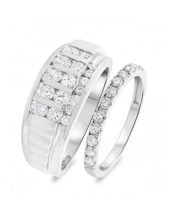 1 5/8 CT. T.W. Diamond Matching Wedding Band Set 14K White Gold