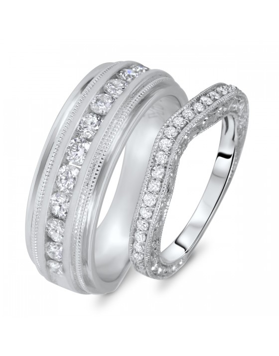 3/4 Carat T.W. Round Cut Diamond His And Hers Wedding Band Set 14K White Gold