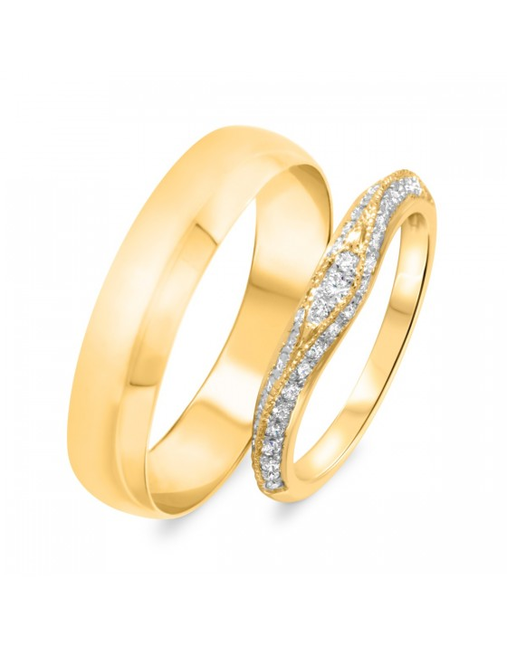 1/3 Carat T.W. Round Cut Diamond His And Hers Wedding Band Set 10K Yellow Gold