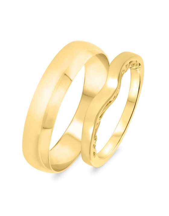 Wedding Band Set 14K Yellow Gold