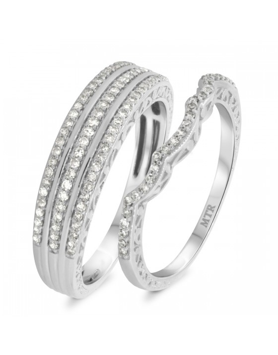 1/2 CT. T.W. Diamond Matching Wedding Band Set 14K White Gold