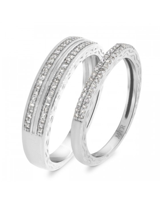 3/8 Carat T.W. Diamond Matching Wedding Band Set 14K White Gold