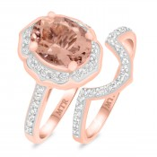 2 1/2 Carat T.W. Morganite and Diamond Matching Bridal Ring Set 14K Rose Gold