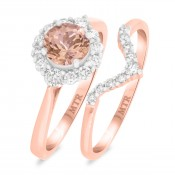 1 1/6 CT. T.W. Morganite and Diamond Matching Bridal Ring Set 14K Rose Gold