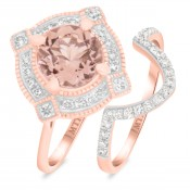 2 Carat T.W. Morganite and Diamond Matching Bridal Ring Set 14K Rose Gold
