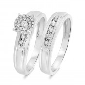 1/4 CT. T.W. Diamond Matching Bridal Ring Set 14K White Gold