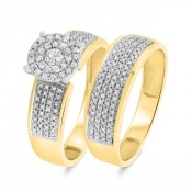 2/3 CT. T.W. Diamond Matching Bridal Ring Set 10K Yellow Gold
